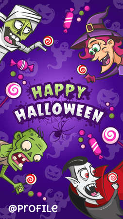 Happy Halloween. Cartoon funny monsters characters with candies, ghosts. Vector illustration