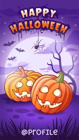 Happy Halloween. Cartoon funny pumpkins lanterns and full moon with bats. Vector illustration