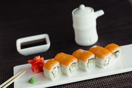 Japanese sushi, Philadelphia with salmon on a white dish