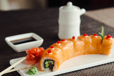 Japanese sushi, the red dragon on a white dish Reklamní fotografie