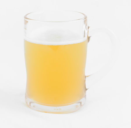 un bottled: Mug with beer on white background Stock Photo