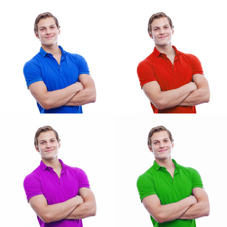 Collage of four square images young handsome man wearing blue, red, purple and green t-short isolated on white photo