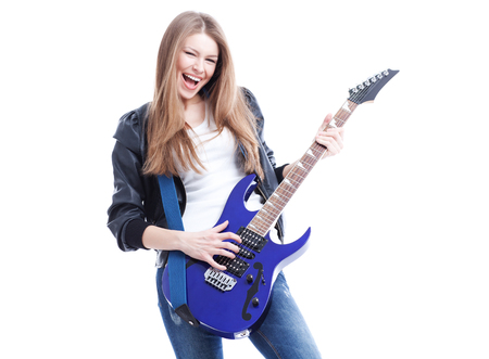 young beautiful woman with blue electric guitar   isolated in white