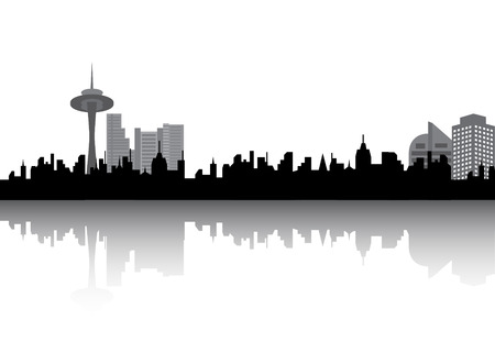 city building: Urban silhouette Illustration