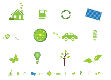 solar house: Environment friendly eco symbols Illustration