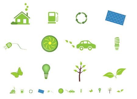 maison solaire: Respectueuse de l'environnement �cologique des symboles Illustration