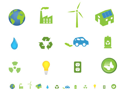 electric turbine: Environment friendly ecological icon set