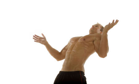 Muscular sexy male body builder exercising Stock Photo