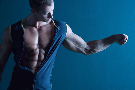 washboard: Muscular sexy male body builder Stock Photo