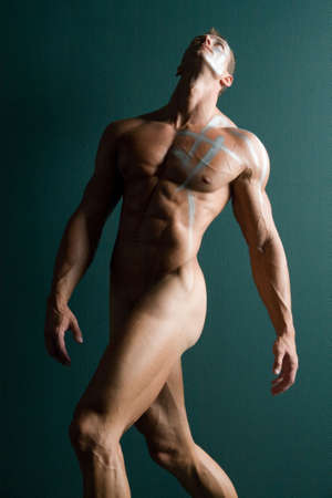 naked abs: Muscular sexy man