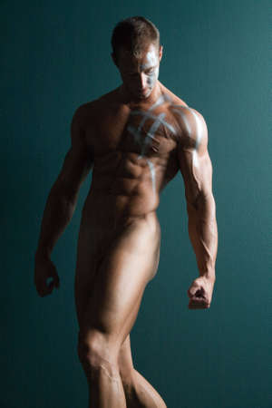 naked abs: Athletic sexy male body builder
