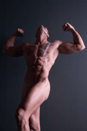 sixpacks: Muscular sexy male body builder Stock Photo