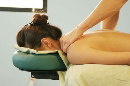 rejuvenate: Neck massage Stock Photo
