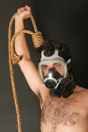hairy chest: Man with gas mask and rope