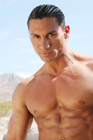 Sexy handsome male model face and chest Stock Photo - 717309