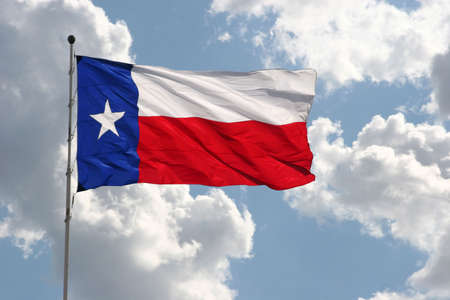 Texas flag on clouds