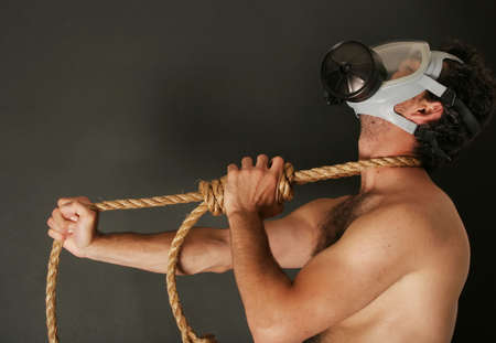 Man with a gas mask photo