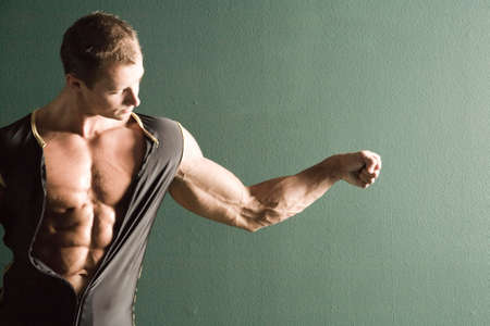 sixpack: Muscular body builder chest and arm