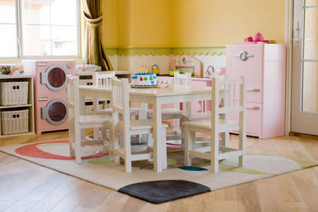 Childrens playroom decorated for girls