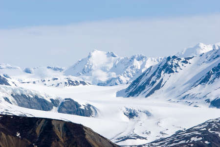 Snowy mountain tops in Alaska Stock Photo