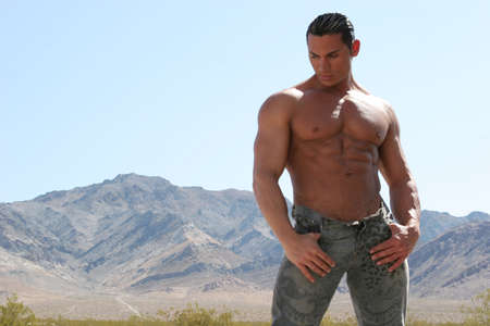 Sexy muscular man in blue jeans Stock Photo - 1173636