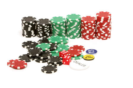 Poker chips, buttons and dices photo