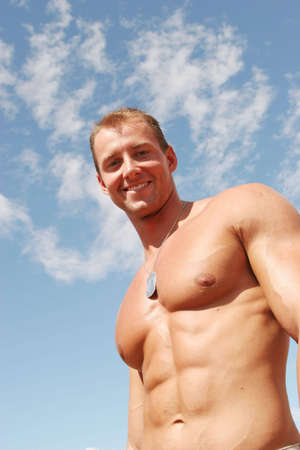 sixpack: Sexy muscular body builder Stock Photo