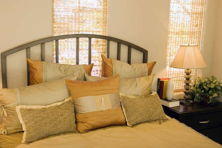 Modern tastefully decorated bedroom photo