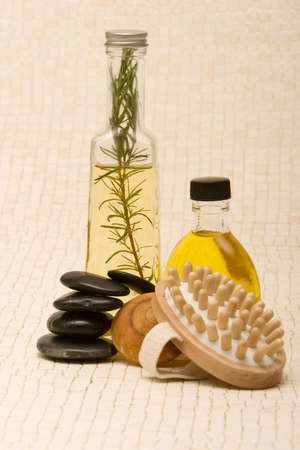 Massage oils, massager and stones