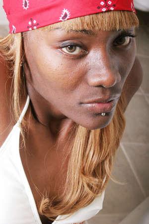 Sexy black woman in bandana Stock Photo - 1237008