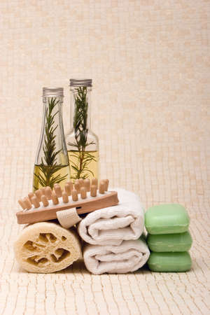 rejuvenate: Spa towels, soaps, loofah, massager and essential oils