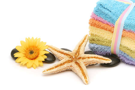 rejuvenate: Colorful spa or bath towels and starfish