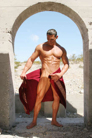 washboard: Athletic man in red towel