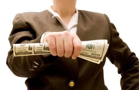 Businesswoman holding hundred dollar bills photo