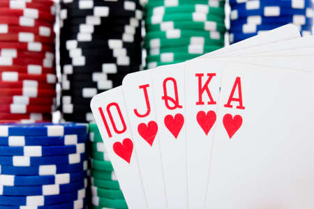 Royal flush and poker chips Stock Photo - 1464502