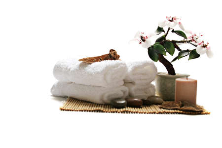 Spa towels and candle on white background Stock Photo - 1491535