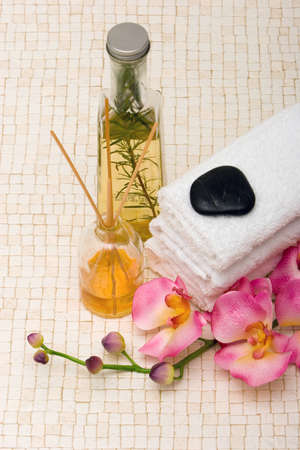 spa towels: Spa towels, pink orchid and essential oils