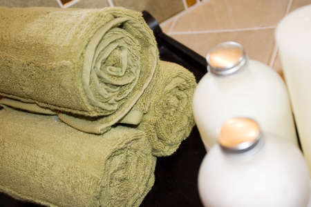 revitalize: Spa towels and body creams Stock Photo