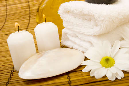 Spa items on bamboo mat Stock Photo - 1544063