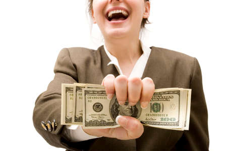 Businesswoman holding hundred dollar bills Stock Photo - 1544035