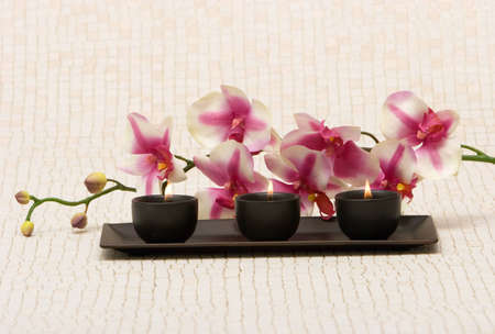 Aromatherapy candles and pink orchid Stock Photo - 1615469