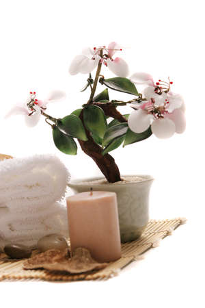 Spa towels, candle and flower on white background Stock Photo