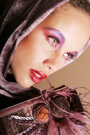 Sexy biracial woman in scarf Stock Photo - 1620732