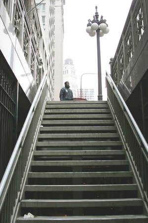 Subway stairs to the street photo