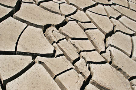 Deep dry cracks on earth photo