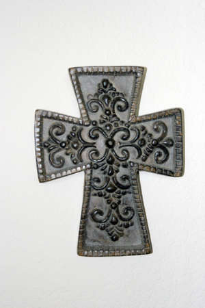 protestant: Beautiful ornamental cross on white Stock Photo