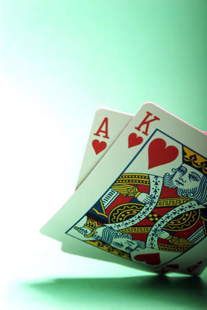 Winning blackjack hand of king and ace