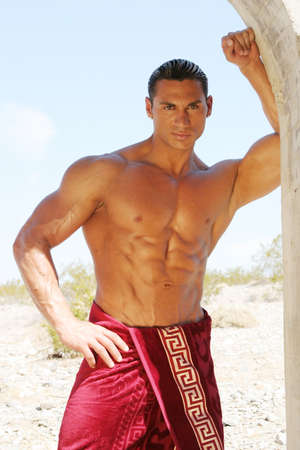 washboard: Muscular man in red towel