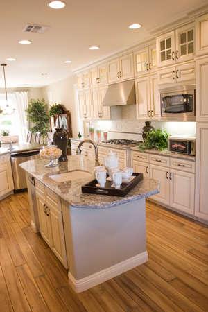 Moderne keuken met granieten countertops