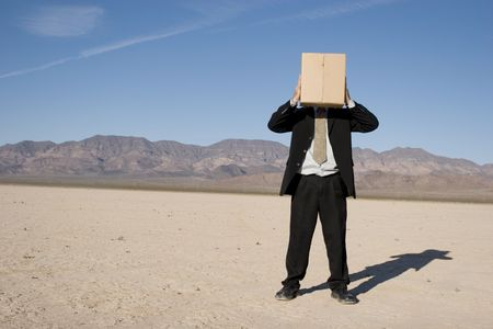 Businessman with a box over his head photo